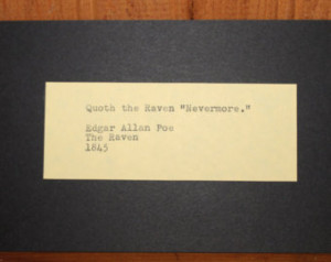 Hand Typed Halloween Edgar Allan Po e The Raven poem quote Vintage ...