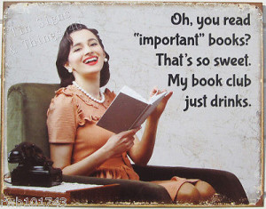 Book club just drinks TIN SIGN funny home library bar wine store wall ...