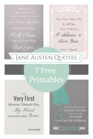Free Printable Jane Austen Quotes for Your Valentine's Day Decor