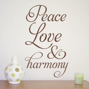 Peace Love & Harmony - wall sticker design - WA265X