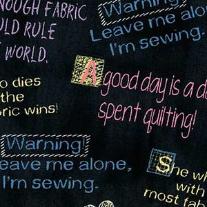 BORN TO QUILT SAYINGS FABRIC