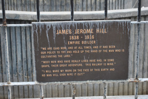 The placard about James J Hill and his famous quotes.
