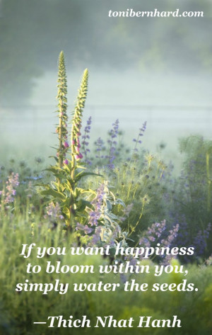 ... happiness to bloom within you, simply water the seeds. - Thich Nhat
