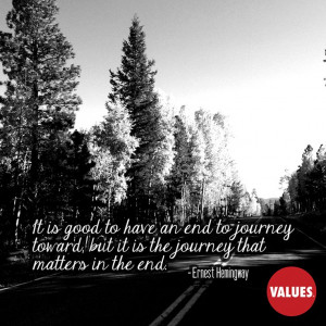 An inspirational quote by Ernest Hemingway from Values.com