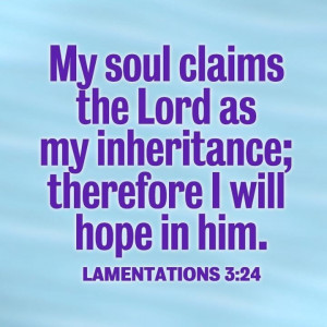 May 11. Lamentations 3:24. Hope in the LORD, my inheritance.