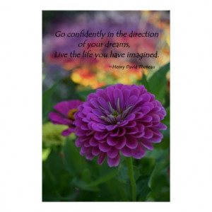 Colorful Purple zinnia flower inspirational quote Print