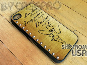 Tinkerbell Quote Dreams are Forever Peter Pan Cute iPhone 4 or 4S Case ...