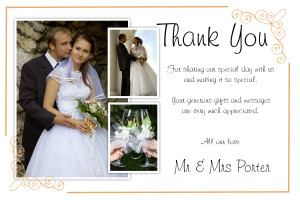 ... about 50 Personalised Wedding Thankyou Thank you PHOTO cards N184