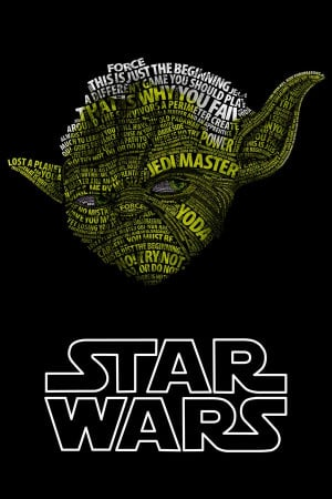of famous quotes/phrases from the franchise in the shape of Yoda ...