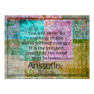 Aristotle motivational quote Courage and Honor Print