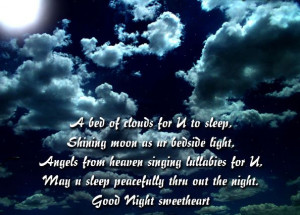 Bed of Clouds for U to Sleep ~ Good Night Quote