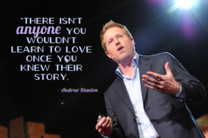 Andrew Stanton tells us how to tell stories at TED2012. Photo by ...