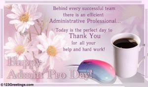 Administrative Professionals (Secretary's) Day: WEDNESDAY APRIL 25