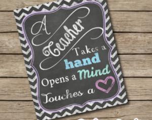 ChalkBoard Chalk Teacher Inspiratio nal Quote Wall / Desk Art Sign ...