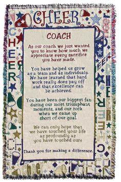 Cheerleading Coach Poem Throw : Spirit Accessories More