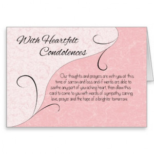 Heartfelt Condolences & Sympathy Scroll & Words Greeting Card