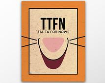 The Pooh Tigger Quote Poster - 5x7 8x10 11x17 cute orange print ttfn ...
