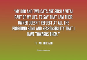 My dog and two cats are such a vital part of my life. To say that I am ...