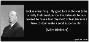 ... because a hero couldn't make a good suspense film. - Alfred Hitchcock