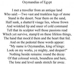 Ozymandias by Percy Bysshe Shelley http://www.annabelchaffer.com ...