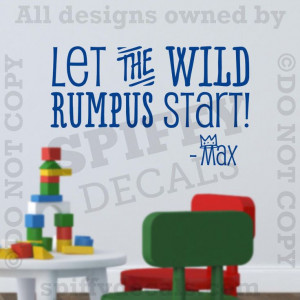 Wild Rumpus Start Where The Wild Things Are Quote Vinyl Wall Decor ...