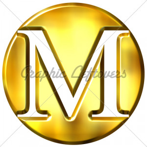hot Picture of Letter M - Free 3D Golden Letter M