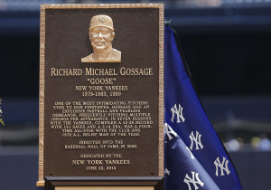 Goose Gossage was honored with a plaque in Monument Park on Sunday