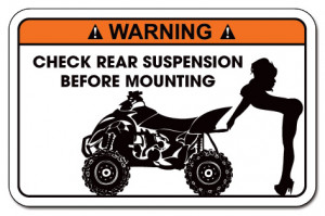 Funny Warning Decal Sticker Yamaha Raptor, Honda, Can-AM Renegade ...