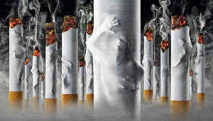 ... imagery illustrating people trapped inside their smoking addiction