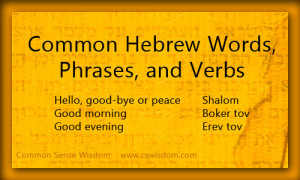 Common Hebrew Words, Phrases, and Verbs}