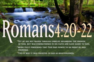 ... On Faith Romans 4:20-22 Waterfall Landscape HD Christian Wallpaper