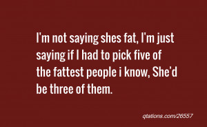 Image for Quote #26557: I'm not saying shes fat, I'm just saying if I ...