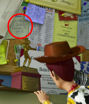 This one appears only in the trailer. A postcard on Andy's pinboard ...