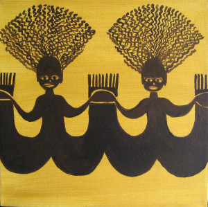 Two African Women Painting