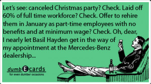 Christmas party,layoffs,Mercedes-Benzhumor, ecards birthday, sense ...