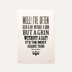 Letterpess printed Alice in Wonderland quote