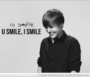 cute, justin bieber, quote, quotes, u smile i smile