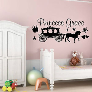 PRINCESS-HORSE-CARRIAGE-WALL-ART-STICKER-QUOTE-PERSONALISED-GIRLS ...