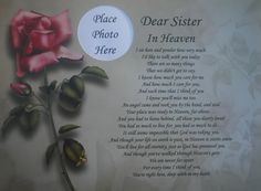 Loss of a Sister | DEAR SISTER IN HEAVEN MEMORIAL POEM GIFT FOR LOSS ...