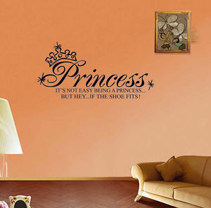 Details about Princess Wall Quotes Vinyl Stickers Girl Kids Room Wall ...