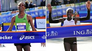 ... Marathon. Edna Kiplagat of Kenya crosses the finish line to win the