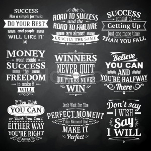 Success motivational and inspirational quotes chalkboard emblems set ...