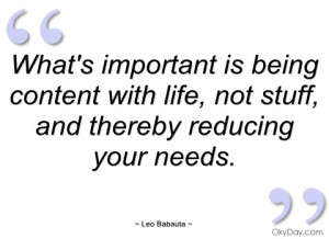 What's important is being content with