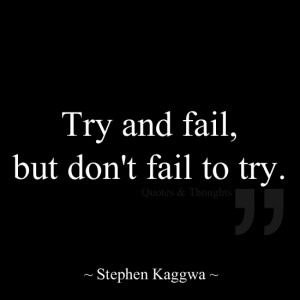 Try and fail, but don't fail to try.