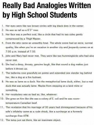 Funny High School Student Analogies
