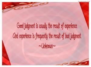 Good Judgement Is