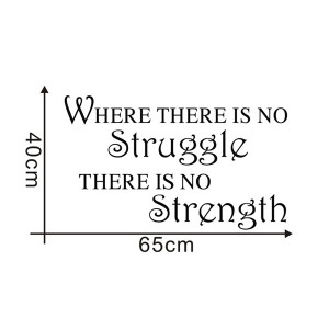 No Struggle No Strength Words and Quotes Wall Sticker