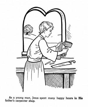 ... Matt. 2, Luke 2 - coloring picture of young Jesus working as carpenter
