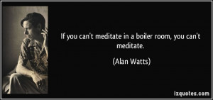 If you can't meditate in a boiler room, you can't meditate. - Alan ...