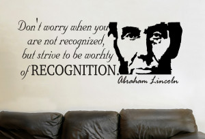 Abraham Lincoln Dont worry...Inspirational Wall Decal Quotes